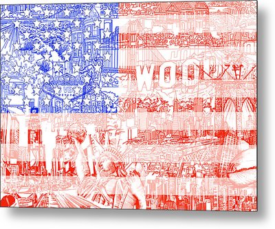 Usa Flag 1 Metal Print by Bekim Art