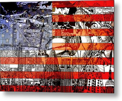 Usa Flag 3 Metal Print by Bekim Art