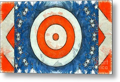 Metal Print featuring the digital art Usa Flag Abstract by Edward Fielding