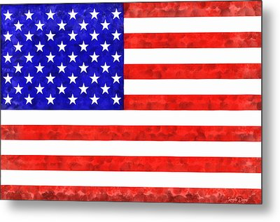 Usa Flag  - Acrylic Style -  - Pa Metal Print by Leonardo Digenio