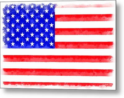 Usa Flag  - Aquarell Style -  - Pa Metal Print by Leonardo Digenio