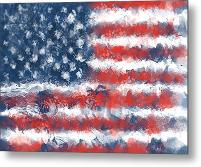 Usa Flag Brush Strokes Metal Print