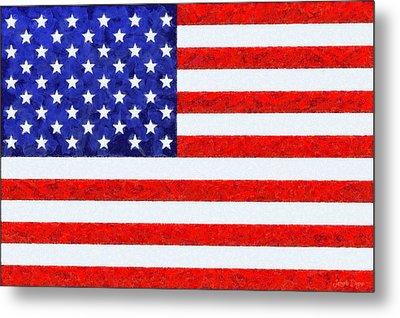 Usa Flag  - Camille Style -  - Da Metal Print by Leonardo Digenio