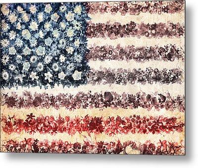 Usa Flag Floral 3 Metal Print