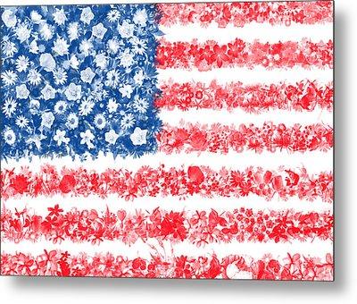Usa Flag Floral Metal Print by Bekim Art