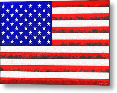 Usa Flag  - Free Colorful Style -  - Pa Metal Print by Leonardo Digenio