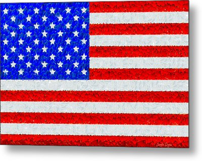 Usa Flag  - Palette Knife Style -  - Da Metal Print