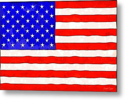 Usa Flag  - Van Gogh Style -  - Da Metal Print by Leonardo Digenio