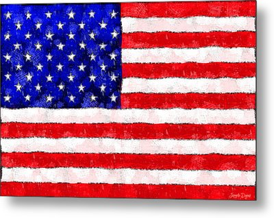 Usa Flag  - Wax Style -  - Da Metal Print by Leonardo Digenio