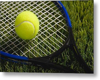 Usa, Illinois, Metamora, Tennis Racket And Ball On Grass Metal Print by Vstock LLC