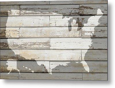Usa Map Of America Outline On White Barn Wood Planks Metal Print