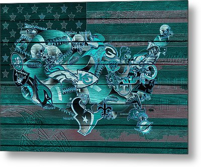 Usa Nfl Map Collage 3 Metal Print