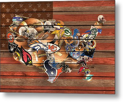 Usa Nfl Map Collage 6 Metal Print