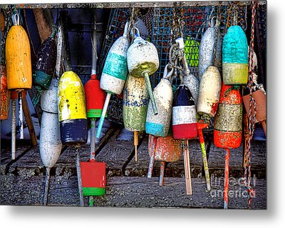 Metal Print featuring the photograph Used Lobster Trap Buoys by Olivier Le Queinec
