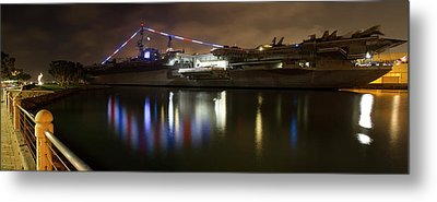 Metal Print featuring the photograph Uss Midway At Night by Nathan Rupert