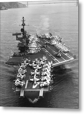 Uss Midway Leaves Sf Metal Print by Underwood Archives