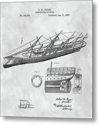 Uss Pocahontas Ship Illustration Metal Print