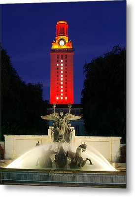 Ut Austin Tower Orange Metal Print by Lisa  Spencer