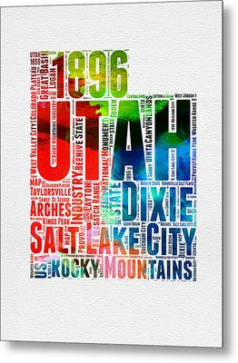 Utah Watercolor Word Cloud Map Metal Print by Naxart Studio