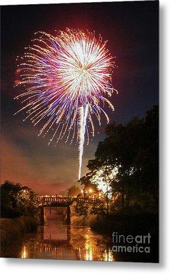 Utica Fireworks Metal Print