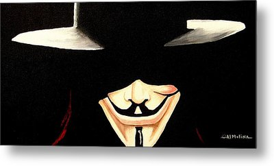 V For Vendetta Metal Print by Al  Molina