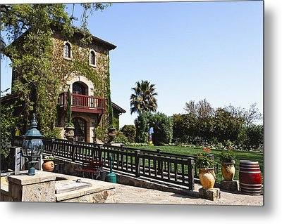 V Sattui Winery Building Napa Valley California Metal Print by George Oze