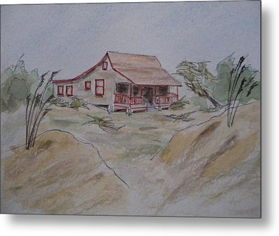 Metal Print featuring the painting Vacation Cottage - Kitty Hawk by Joel Deutsch