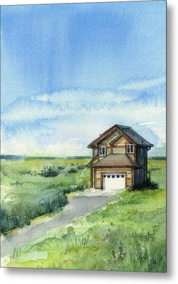 Vacation House In A Field - Watercolor - Long Beach, Wa Metal Print