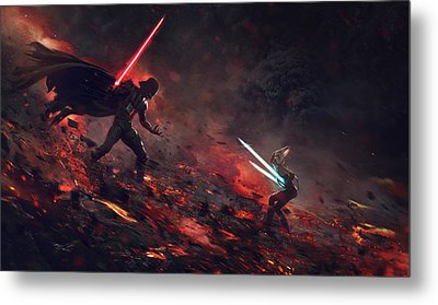 Vader Vs Ahsoka Metal Print by Guillem H Pongiluppi