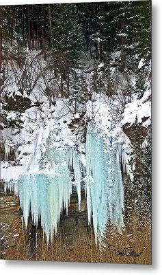 Vail Ice Falls Metal Print by David Salter