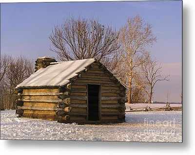 Valley Forge Cabin At Sunset Metal Print