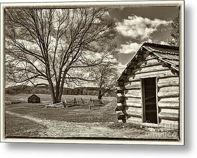 Valley Forge Military Cabin Metal Print by David Zanzinger