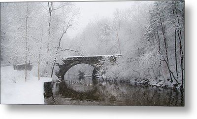 Valley Green Bridge In The Snow Metal Print by Bill Cannon