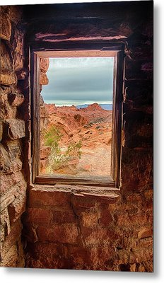 Valley Of Fire Window View Metal Print