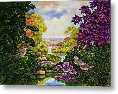 Metal Print featuring the painting Valley Of The Sparrows by Michael Frank