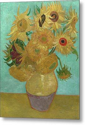 Van Gogh Vase With Twelve Sunflowers  Metal Print by Vincent Van Gogh