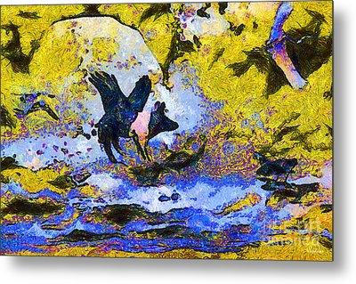 Van Gogh.s Flying Pig 3 Metal Print by Wingsdomain Art and Photography