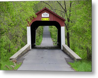 Van Sandt Covered Bridge - Bucks County Pa Metal Print by Bill Cannon