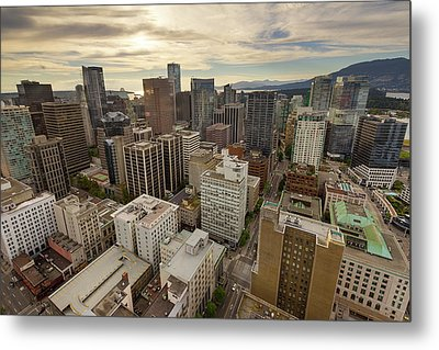 Vancouver Bc Cityscape Aerial View Metal Print by David Gn