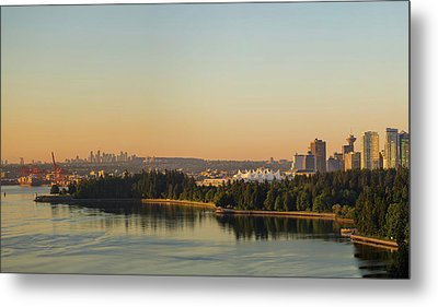 Vancouver Bc Cityscape By Stanley Park Morning View Metal Print by David Gn