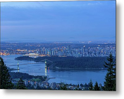 Vancouver Bc Cityscape During Blue Hour Dawn Metal Print by David Gn