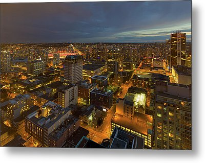 Vancouver Bc Cityscape During Evening Twilight Metal Print by David Gn