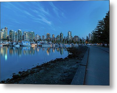 Vancouver Bc Skyline Along Stanley Park Seawall Metal Print by David Gn