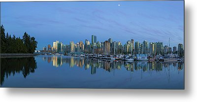 Vancouver Bc Skyline During Blue Hour Panorama Metal Print by David Gn