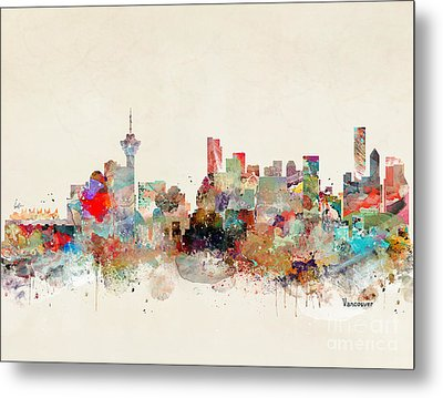 Metal Print featuring the painting Vancouver City Skyline by Bri B