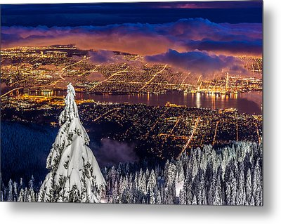 Vancouver City Twilight From Grouse Mountain Metal Print by Pierre Leclerc Photography