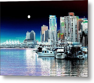 Vancouver Harbor Moonrise  Metal Print by Will Borden