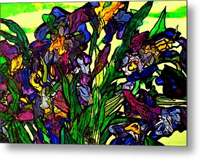 Metal Print featuring the painting Vangogh Iris Montage In Focus by Laura  Grisham