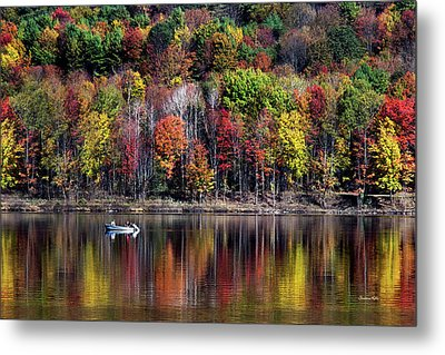 Vanishing Autumn Reflection Landscape Metal Print by Christina Rollo