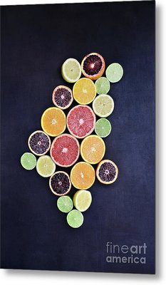 Metal Print featuring the photograph Variety Of Citrus Fruits by Stephanie Frey